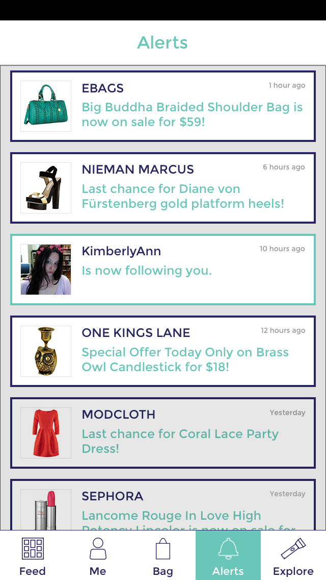 Margaret Darcher Shooq Social Shopping App Screen Design