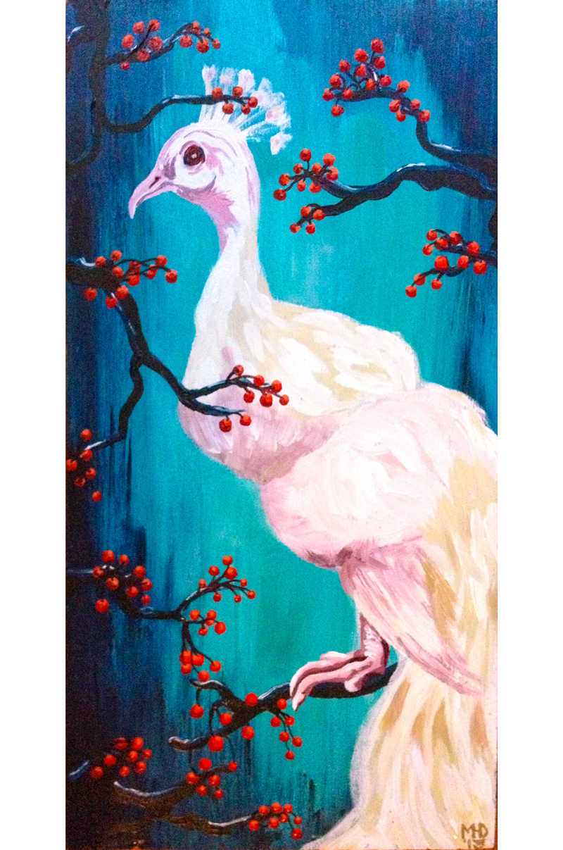 Margaret Darcher Albino Peacock Painting