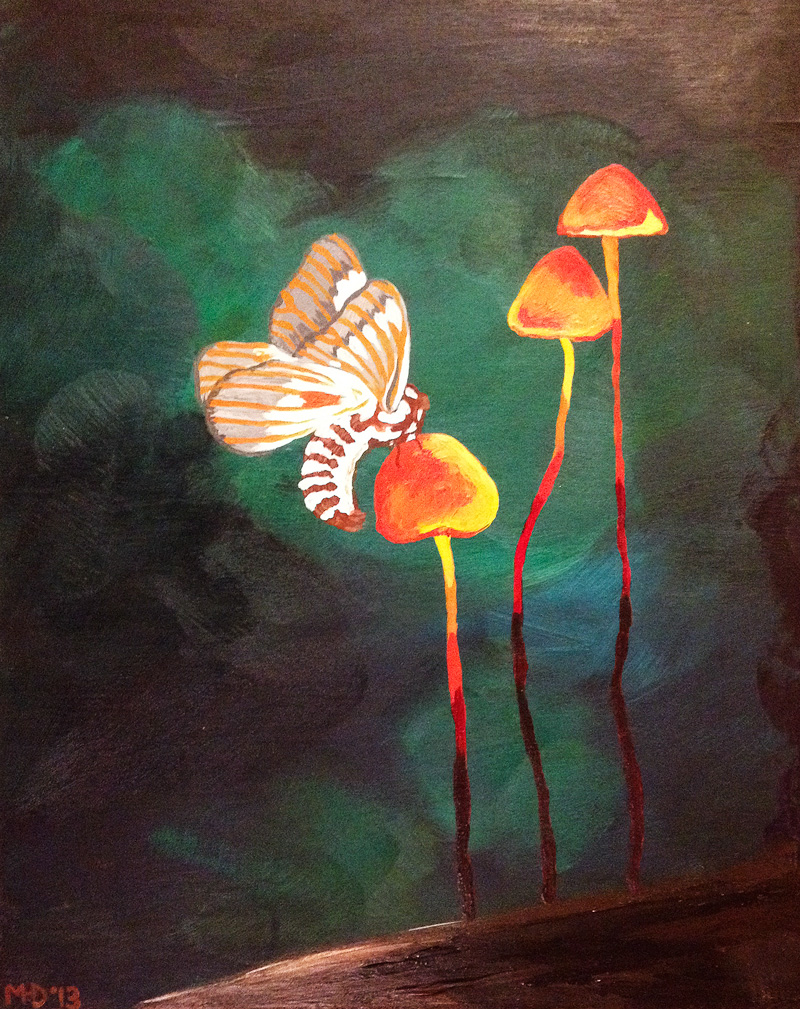 Margaret Darcher Mushrooms and Moths Painting