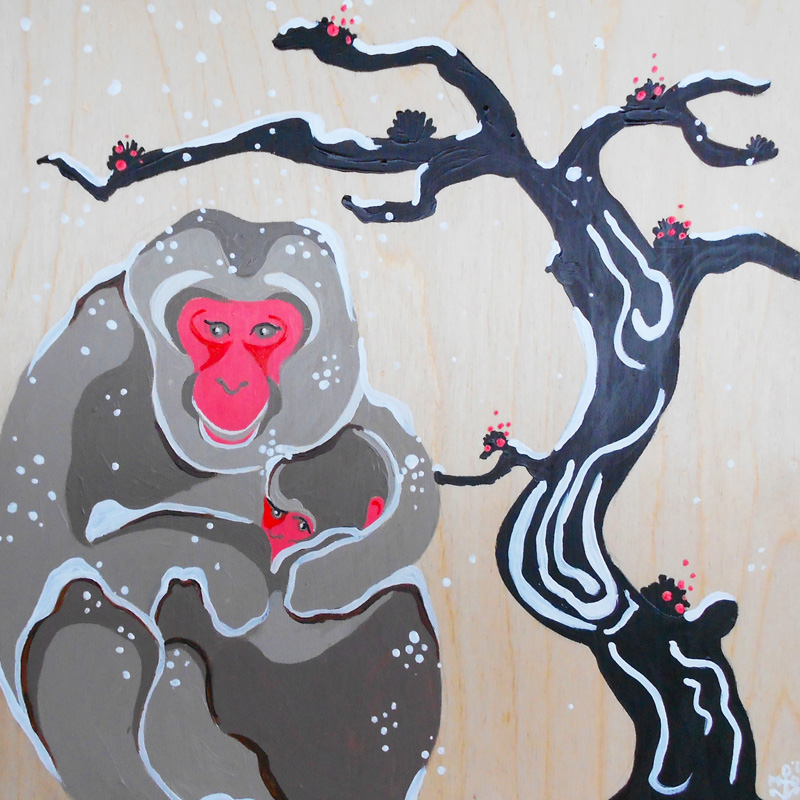 Margaret Darcher Snow Macaque Painting