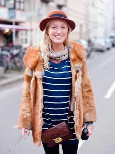 girl wearing vintage fur